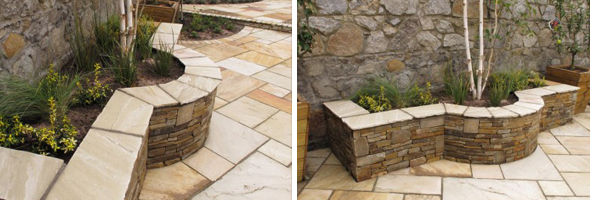 Raised Flower Beds with natural stone